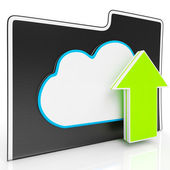 Upload Arrow And Cloud File Showing Uploading — Stock Photo