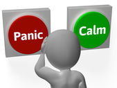 Panic Calm Buttons Show Worrying Or Tranquility — Stock Photo