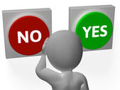 No Yes Buttons Show Rejection Or Granted — Stock Photo