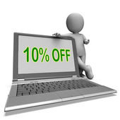 Ten Percent Off Monitor Means Deduction Or Sale Onlin — Stock Photo