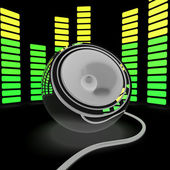 Speaker And Graphic Equalizer Shows Pop Music Or Audio — Stock Photo