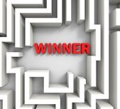Winner In Maze Shows Puzzle Solution — Stock Photo
