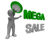 Mega Sale Character Shows Reductions Savings Save Or Discounts — Stock Photo