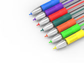 Multicolored Pens On White Copyspace Shows Felt Pens With Copy S — Stock Photo