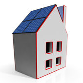 Dom z paneli słonecznych pokazano odnawialnych źródeł energii — Zdjęcie stockowe