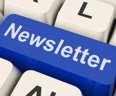 Newsletter Key Shows News Letter Or Online Correspondence — Stock Photo
