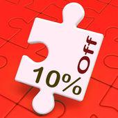 Deset procent z puzzle znamená snížení nebo sal — Stock fotografie