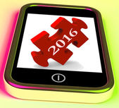 2016 On Smartphone Shows Future New Year Visions — Stock Photo