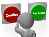 Resolution Conflict Buttons Show Fighting Or Arbitration — Stock Photo
