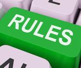Règles clés affiche politique de directives ou de règlements — Photo