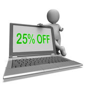 Twenty Five Percent Off Monitor Means Deduction Or Sale Online — Stock Photo