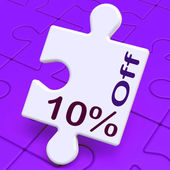 Ten Percent Off Puzzle Means Discounts Or Sal — Stock Photo
