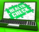 Health Check Laptop Shows Medical Condition Examinations Online — Stock Photo