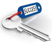 Key With Success Word Showing Winning — Stock Photo