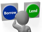 заимствовать одалживают кнопки показать долга или кредит — Стоковое фото