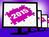 Two Thousand And Fifteen On Monitors Shows Year 2015 Resolution — Stock Photo