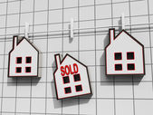 Sold House Meaning Sale Of Real Estate — Stock Photo