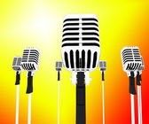 Microphones Musical Shows Music Group Songs Or Singing Hits — Stock Photo