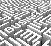 Business Word In Maze Shows Commerce — Stock Photo