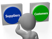 Suppliers Customers Buttons Show Supplier Or Distributor — Stock Photo