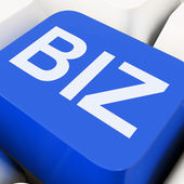 Biz Key Shows Online Or Web Business — Stock Photo