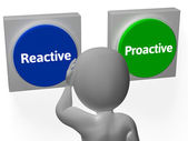 Reactive Proactive Buttons Show Taking Charge Or Inaction — Stock Photo