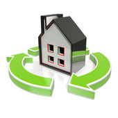 House Icon Shows Home Flipping — Stock Photo