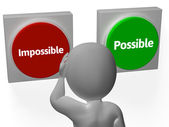 Impossible Possible Buttons Shows Positivity Or Adversity — Stock Photo