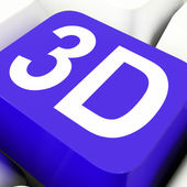 3d Key Shows Three Dimensional Or Dimensions — Stock Photo