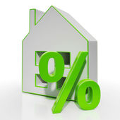 House And Percent Sign Shows Investment Or Discount — Stock Photo