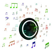 Speaker And Musical Notes Shows Music Acoustics Or Sound System — Stock Photo