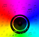 Speaker And Musical Notes Shows Music Disco Or Concert — Stock Photo