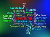 Nauka pokazuje słowa nauki edukacji lub studiów — Zdjęcie stockowe