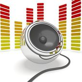 Music Speaker And Graphic Equalizer Shows Pop Or Audio — Stock Photo