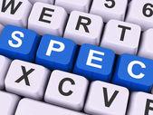 Spec Keys Show Specifications Blueprint Or Design — Stock Photo