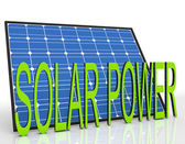Solar Panel And Power Word Shows Sustainable Energies — Stock Photo