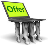 Offer Characters Laptop Shows Cheap Discounting And Reductions — Stock Photo