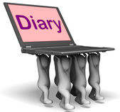 Diary Laptop Characters Show Web Appointments Or Schedule — Stock Photo