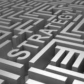Strategy Word In Maze Shows Blueprint Or Plan — Stock Photo
