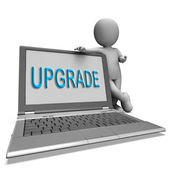 Upgrade Laptop Means Improve Upgrading Or Updating — Stock Photo