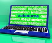 Outsourca laptop visar underentreprenader outsourcing och frilansskribent — Stockfoto
