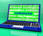 Outsource Laptop Shows Subcontracting Outsourcing And Freelance — Foto de Stock