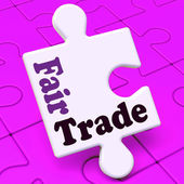 Fairtrade Puzzle Shows Fair Trade Product Or Products — Stock Photo