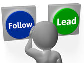 Follow Lead Buttons Show Leading The Way Or Following — Stock Photo
