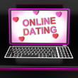 Online Dating Message On Laptop Shows Romancing And Web Love — Stock Photo #32851741