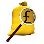 Pound Sack Shows British Money Gbp Or Cash — Stock Photo #32852611
