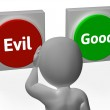 Evil Good Buttons Show Morals Or Mischief — Stockfoto #32853239