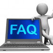 Faq Laptop And Character Shows Solution And Frequently Asked Que — Stock Photo