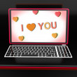 I Love You Key Laptop Message Shows Loving Or Romance — Stock Photo