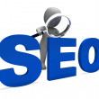 Seo Character Shows Search Engine Optimization Optimized Online — Stock Photo